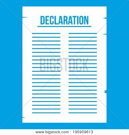 Declaration of independence icon white isolated on blue background vector illustration
