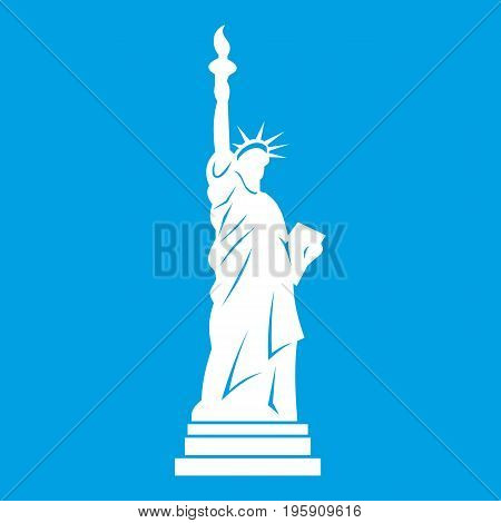 Statue of liberty icon white isolated on blue background vector illustration