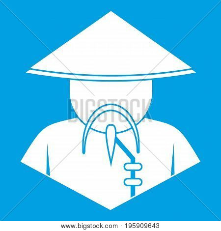 Asian man in conical hat icon white isolated on blue background vector illustration