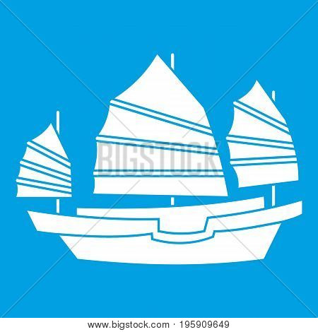 Junk boat icon white isolated on blue background vector illustration