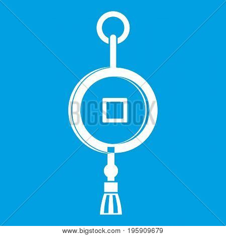 Antique Chinese coin icon white isolated on blue background vector illustration