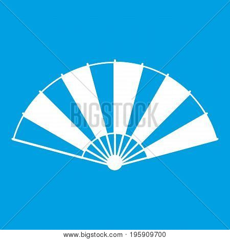 Chinese fan icon white isolated on blue background vector illustration