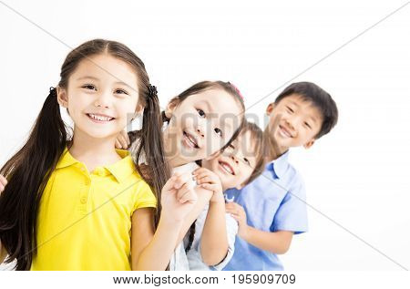 happy and laughing small kids on white background
