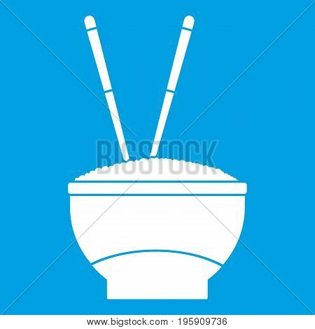 Bowl of rice with chopsticks icon white isolated on blue background vector illustration