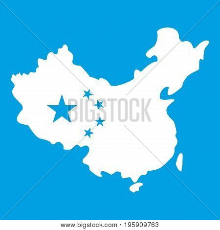 Map of China icon white isolated on blue background vector illustration