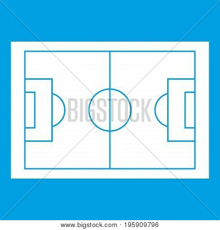 Soccer field icon white isolated on blue background vector illustration