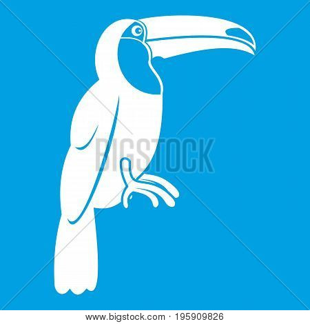 Brazilian toucan icon white isolated on blue background vector illustration