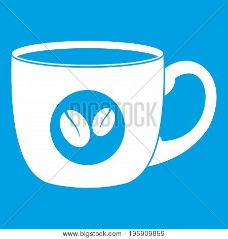 Cup of coffee icon white isolated on blue background vector illustration
