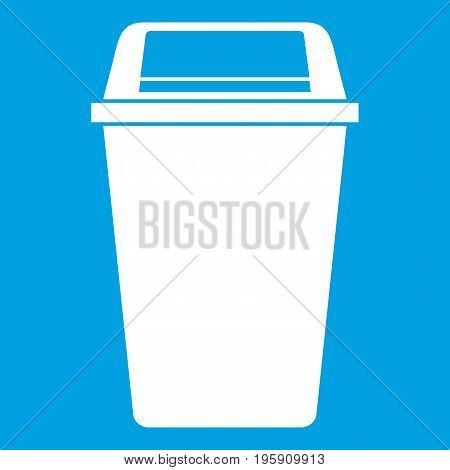 Plastic flip lid bin icon white isolated on blue background vector illustration