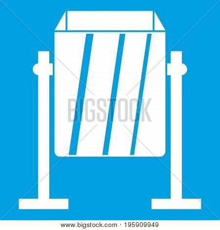 Metal dust bin icon white isolated on blue background vector illustration