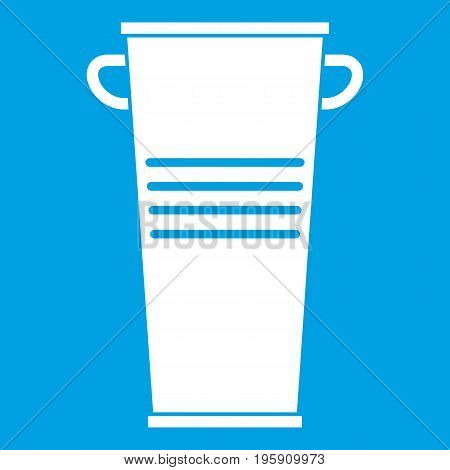 Trash can with handles icon white isolated on blue background vector illustration