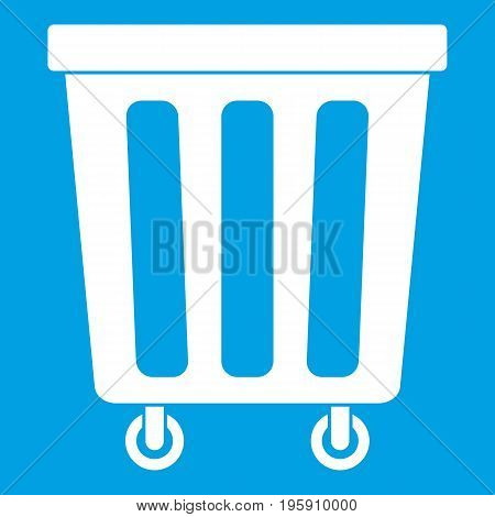 Outdoor plastic trash can icon white isolated on blue background vector illustration
