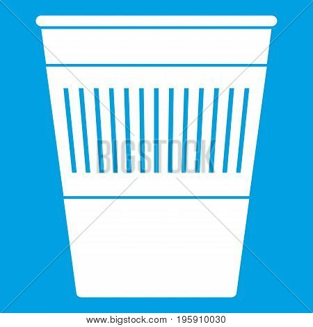 Plastic office waste bin icon white isolated on blue background vector illustration