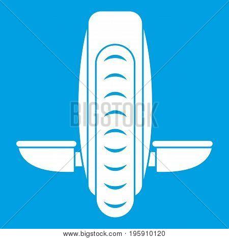 Balance vehicle icon white isolated on blue background vector illustration