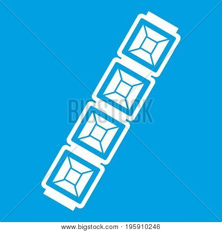 Jewelry chain icon white isolated on blue background vector illustration