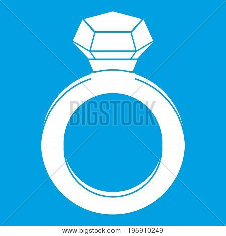Ring with gemstone icon white isolated on blue background vector illustration