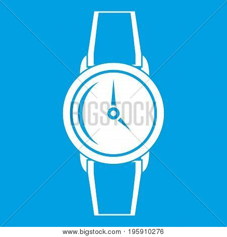 Wristwatch icon white isolated on blue background vector illustration