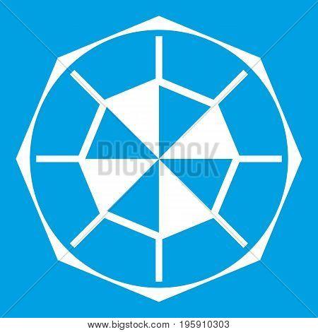 Diamond gemstone icon white isolated on blue background vector illustration