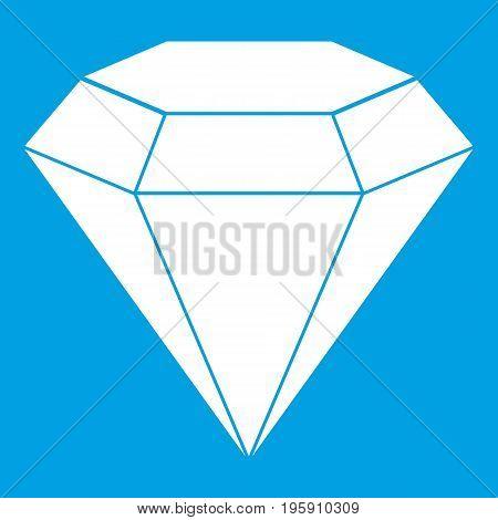 Brilliant gemstone icon white isolated on blue background vector illustration