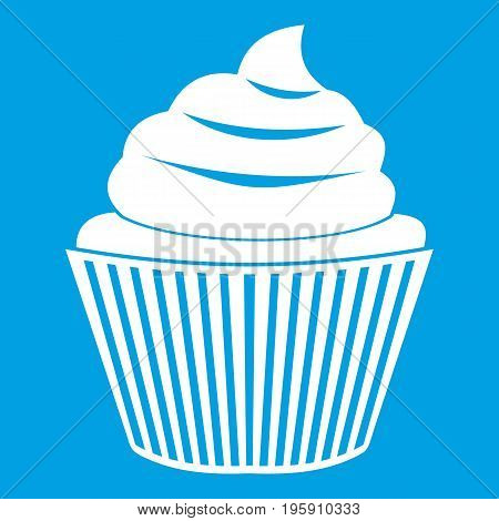 Cupcake icon white isolated on blue background vector illustration