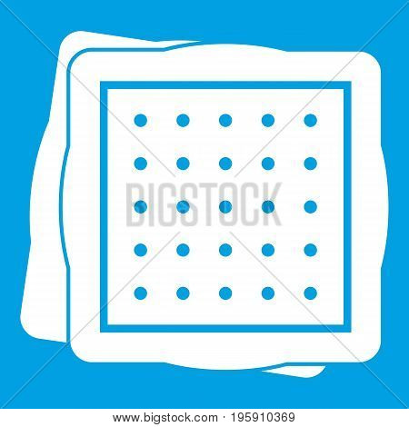 Biscuit icon white isolated on blue background vector illustration