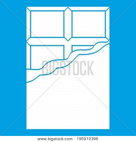 Chocolate icon white isolated on blue background vector illustration