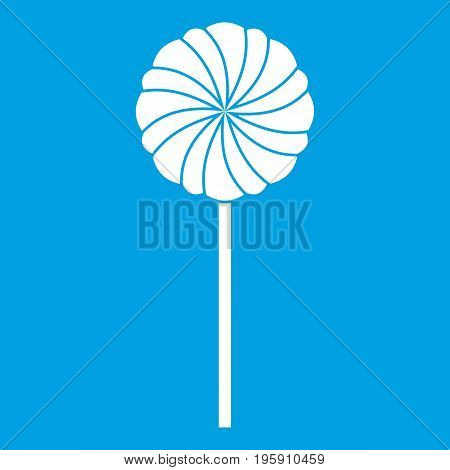 Round candy icon white isolated on blue background vector illustration