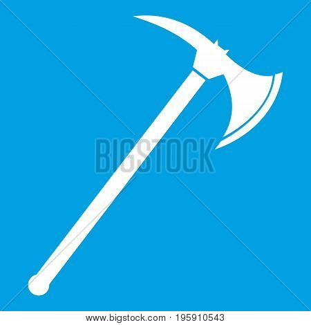Ax icon white isolated on blue background vector illustration