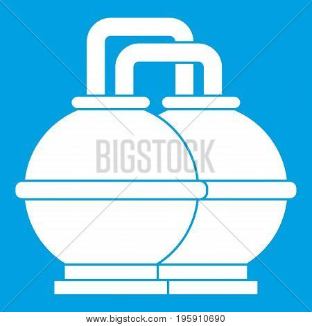 Industrial tanks for petrol and oil icon white isolated on blue background vector illustration