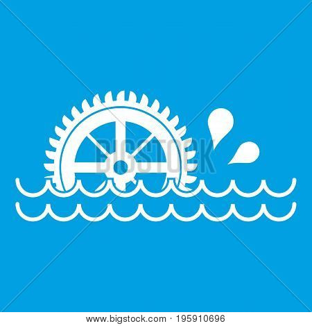 Waterwheel icon white isolated on blue background vector illustration