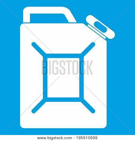 Fuel jerrycan icon white isolated on blue background vector illustration