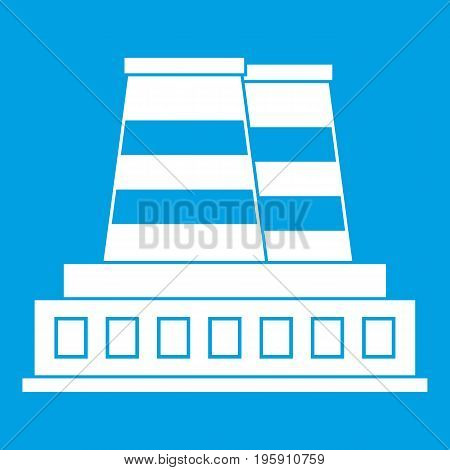 Manufacturing plant icon white isolated on blue background vector illustration