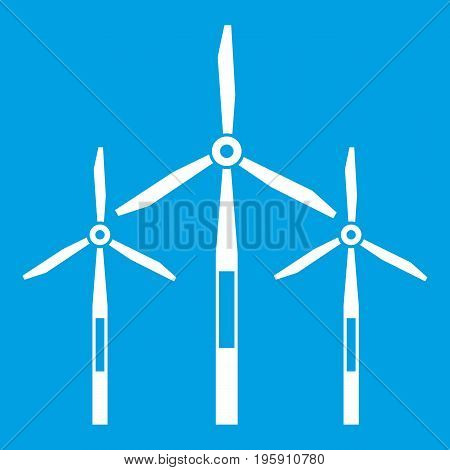 Wind generator turbines icon white isolated on blue background vector illustration