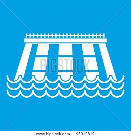 Hydroelectric power station icon white isolated on blue background vector illustration