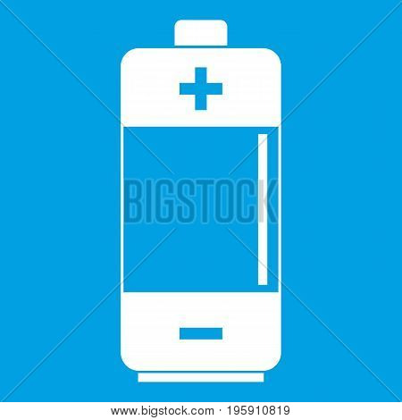 Alkaline battery icon white isolated on blue background vector illustration