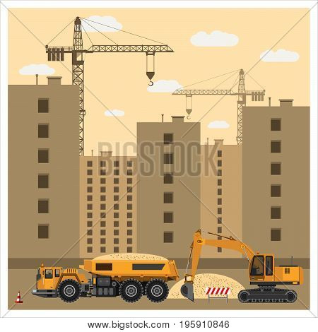 Construction site with special equipment. Crane builds a house. Excavator loads truck with sand. Construction equipment. Flat design. Vector illustration.