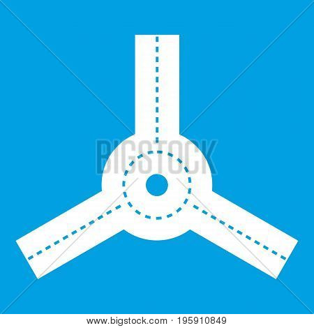 Roundabout icon white isolated on blue background vector illustration