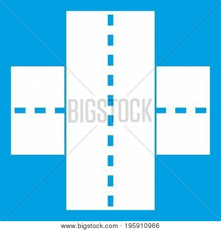 Two roads icon white isolated on blue background vector illustration