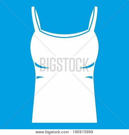 Blank women tank top icon white isolated on blue background vector illustration