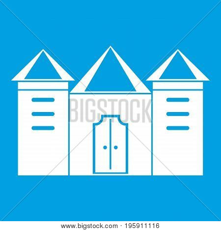 Wall and gate of the old fortress icon white isolated on blue background vector illustration