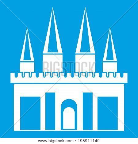 Kingdom palace icon white isolated on blue background vector illustration