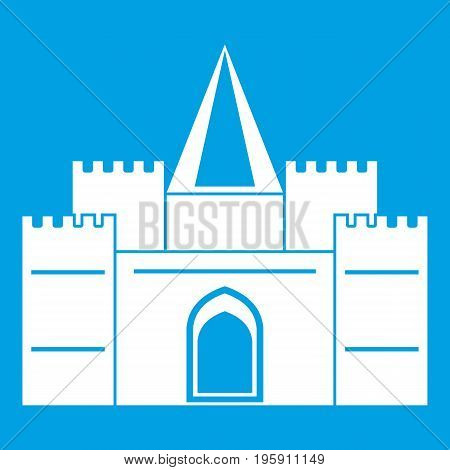 Residential mansion with towers icon white isolated on blue background vector illustration