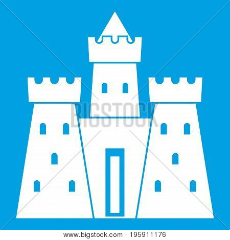 Ancient castle palace icon white isolated on blue background vector illustration