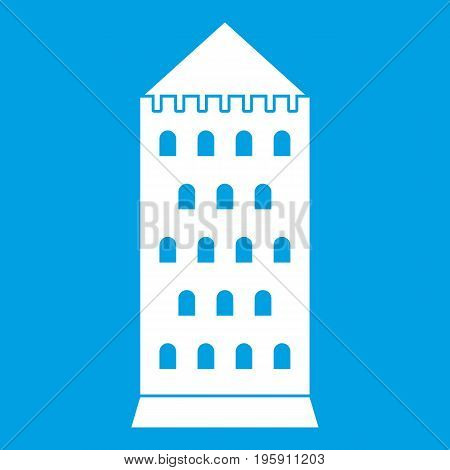 Ancient building icon white isolated on blue background vector illustration