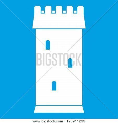 Fortress tower icon white isolated on blue background vector illustration