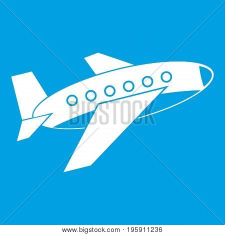 Airplane icon white isolated on blue background vector illustration