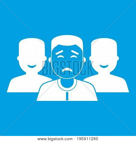 People group icon white isolated on blue background vector illustration