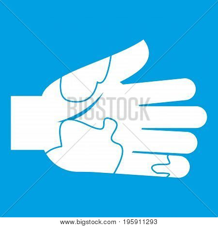 Hand with stains icon white isolated on blue background vector illustration
