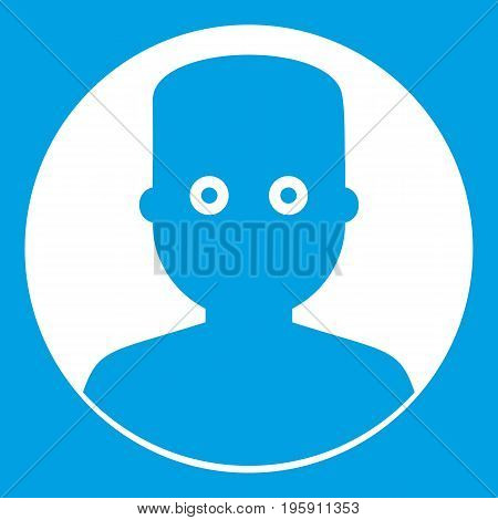Man in the dark icon white isolated on blue background vector illustration