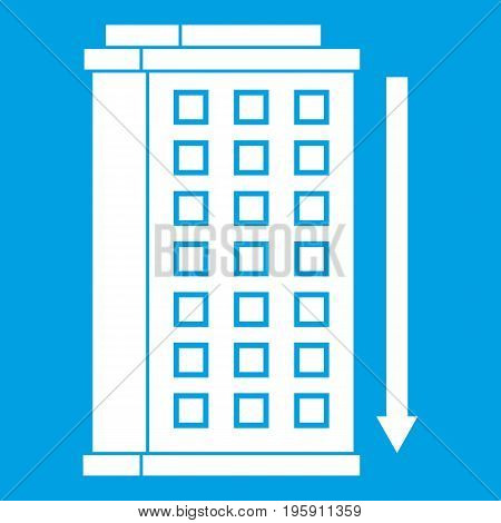 Tall building and down arrow icon white isolated on blue background vector illustration
